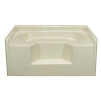 Aquatic 60 x 48 almond fiberglass garden tub buy cheap for Fiberglass garden tub