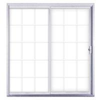 "Kinro 72"" x 76"" White Aluminum Sliding Patio Door with Grids 4030"