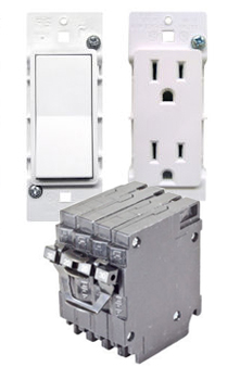 Electrical Breakers in front of a lightswitch and an electrical outlet