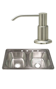 Stainless steel sink and a stainless steel soap pump