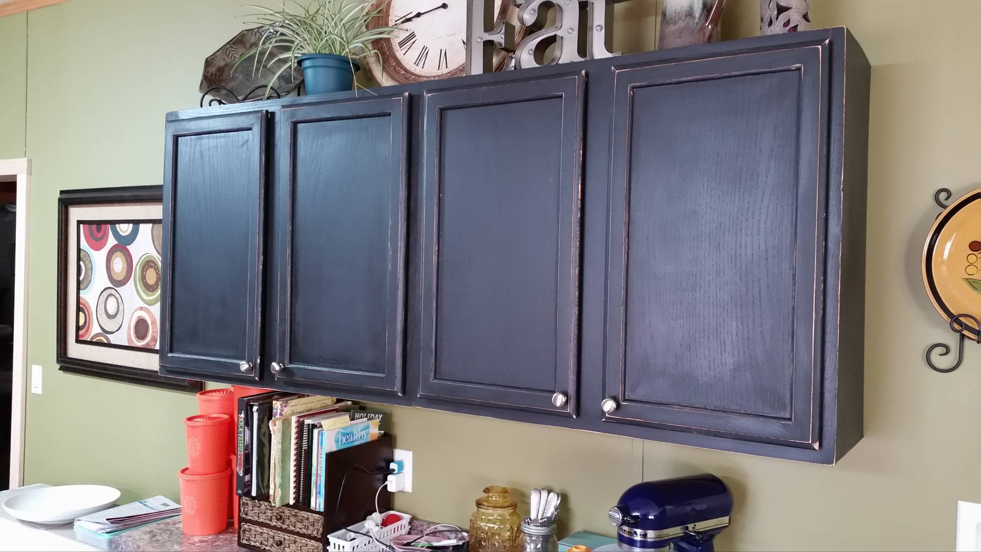 Black Distressed Cabinets.