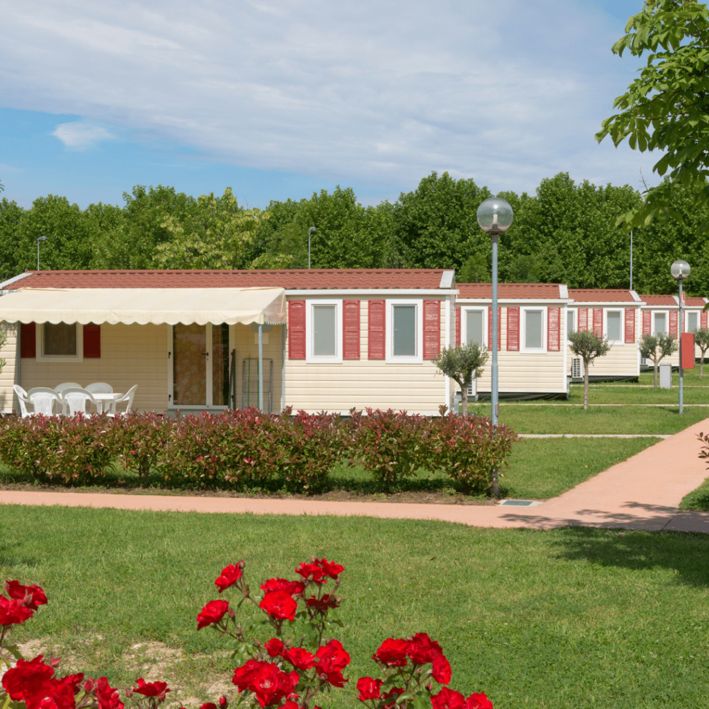 a row of identical mobile homes