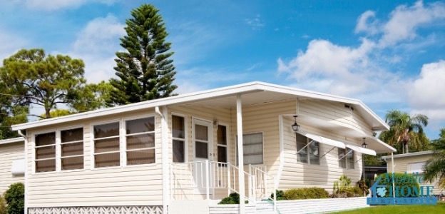 Outside view of doors on a mobile home