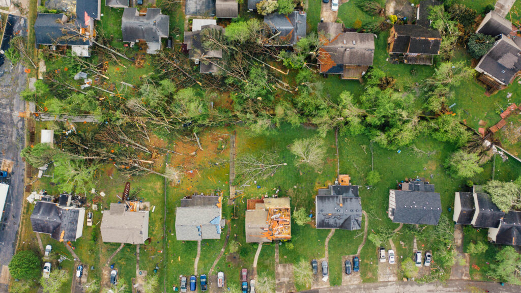 A community in wreckage after a storm