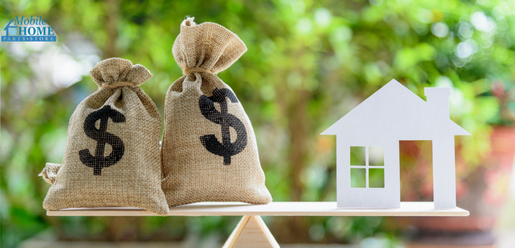 A scale balancing money and a home