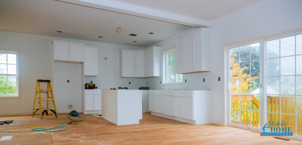 A home being flipped receiving kitchen remodeling