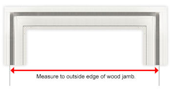 Red Line From Outside Edge To Outside Edge Of Wood Door Jamb.